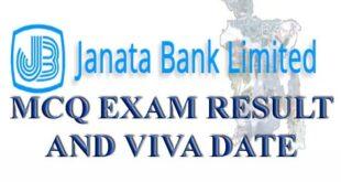 Janata Bank MCQ Exam Result Circular For Bank Jobs Seeker